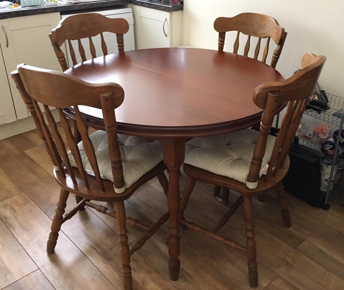 Outstanding Wooden Round Dining Table With 6 Chairs In L36 Knowsley For Creativecarmelina Interior Chair Design Creativecarmelinacom