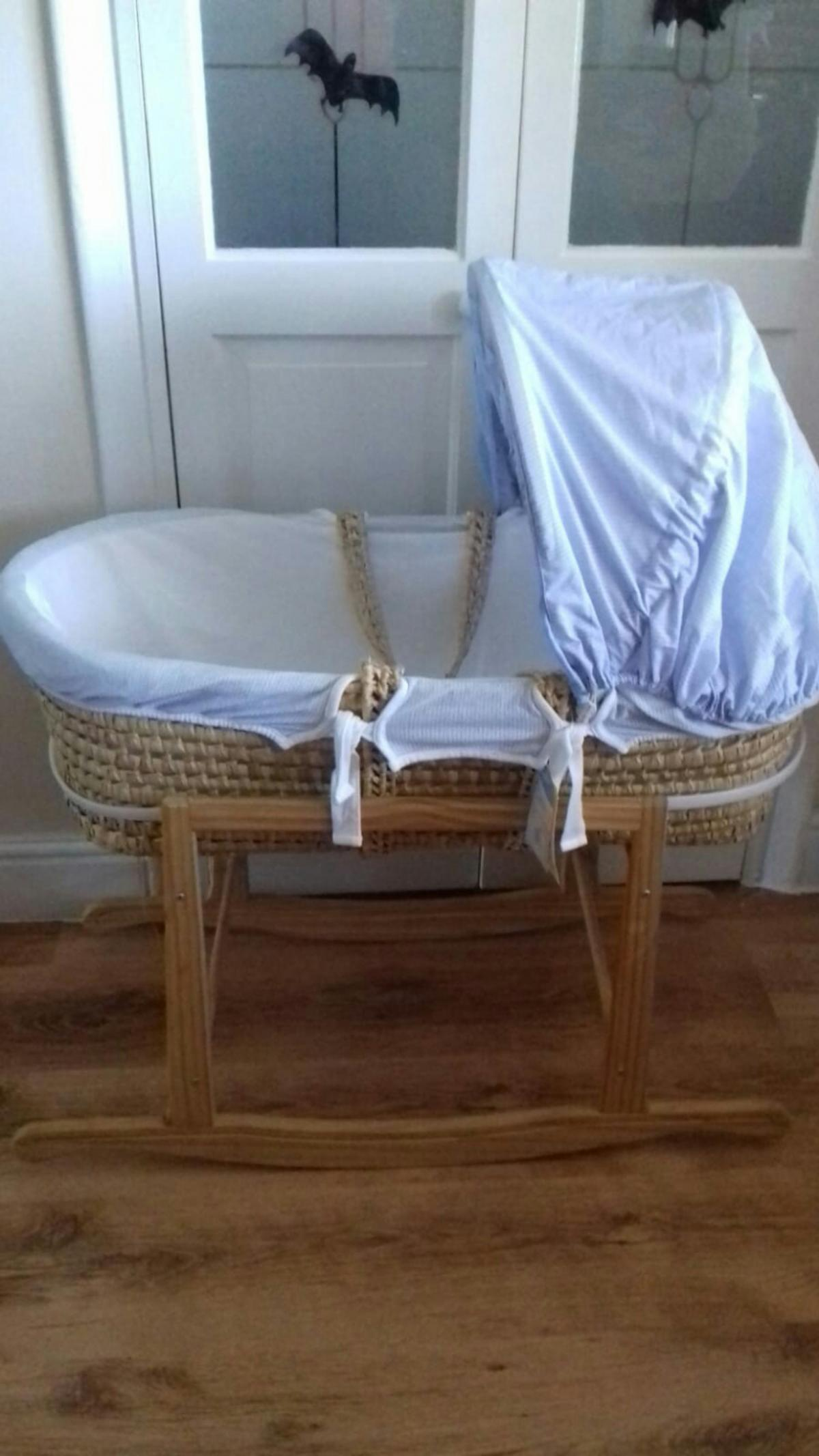 Babies R Us Blue Moses Basket And Stand