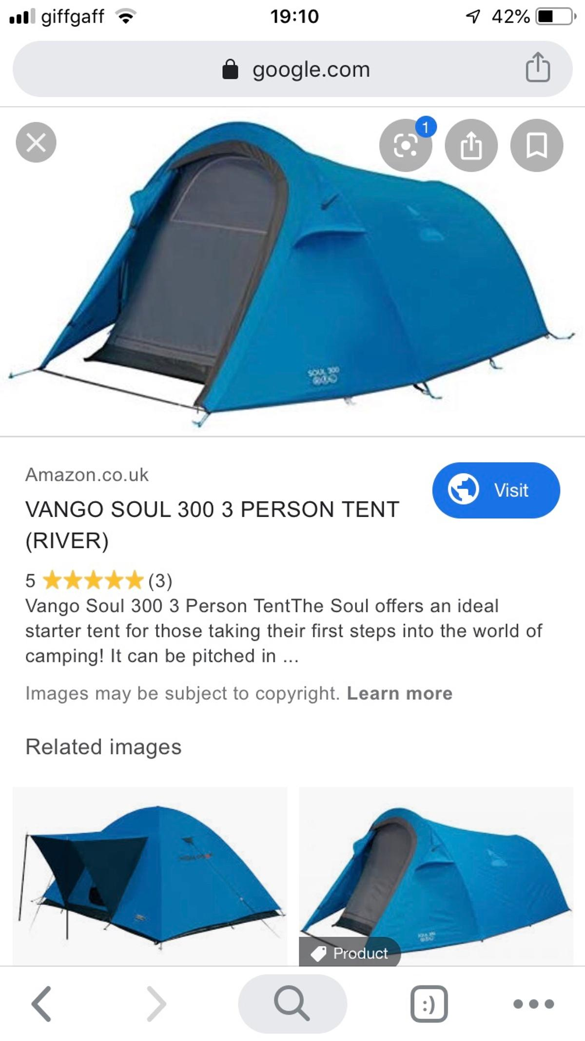 Tent used once. Vango Soul 300
