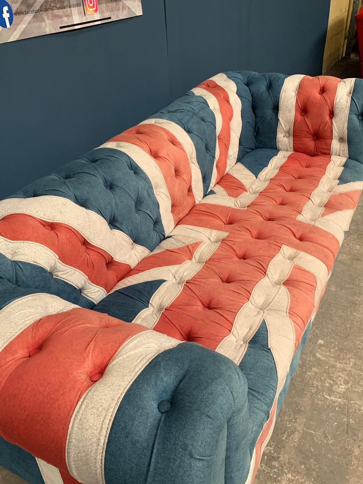 Rare Union Jack Denim Chesterfield Sofa In Wa3 Glazebury For 725 00 For Sale Shpock