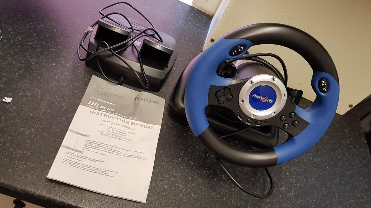 PS2 Play On V8 Plus Racing Wheel With Foot Pedals