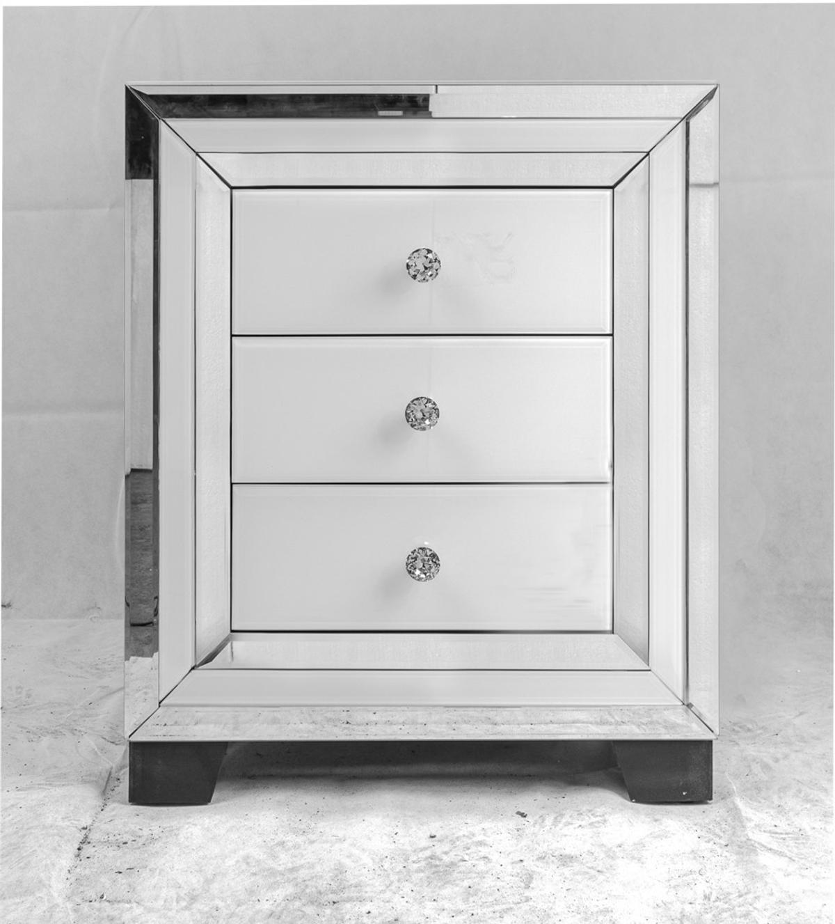 New White Gl Mirrored Bedside Table