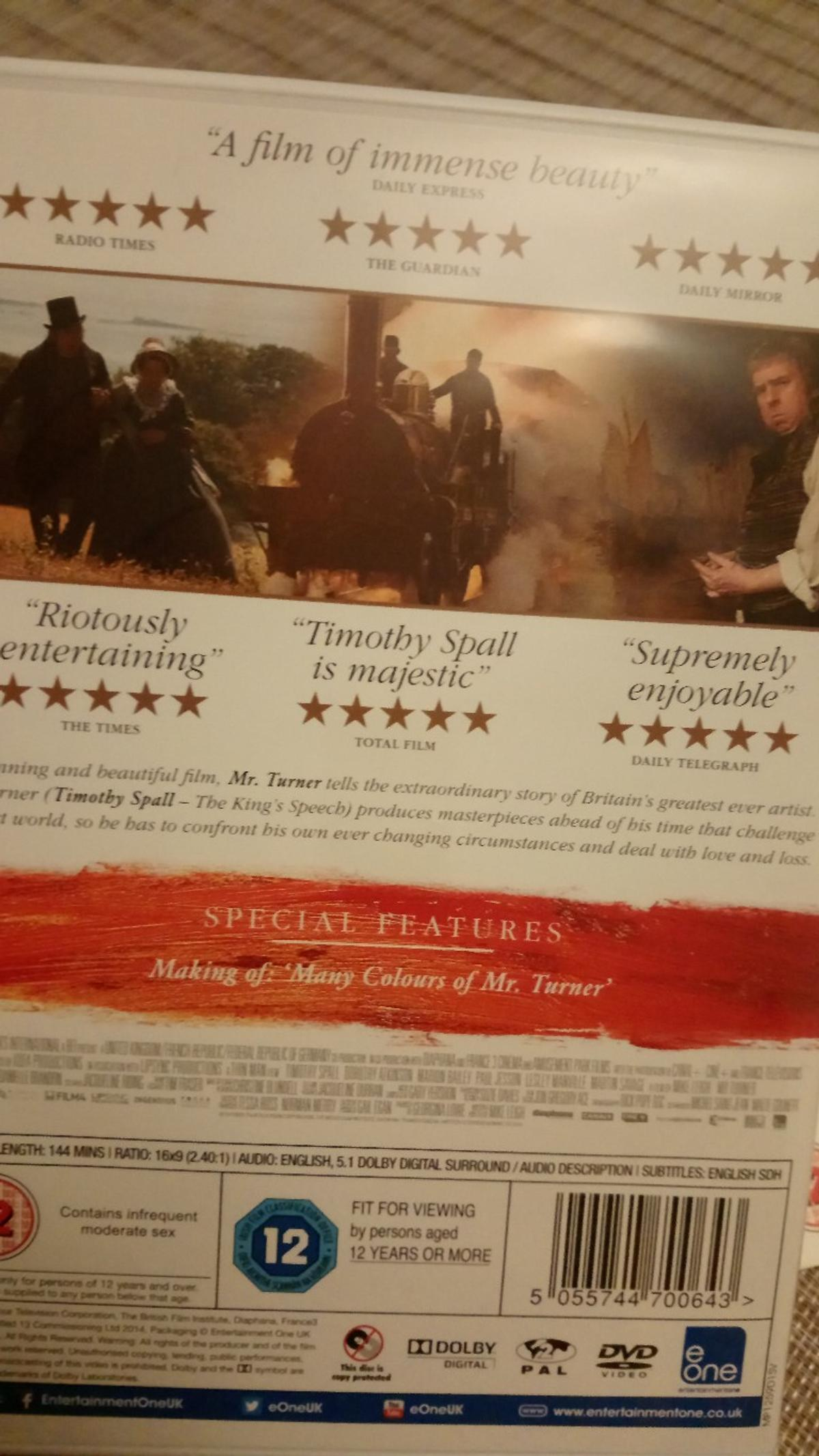 Certificate 12 movie Mr. Turner with Timothy Spall 144 mins long Please take a look at my other items Thank you for looking Cheryl ☺️