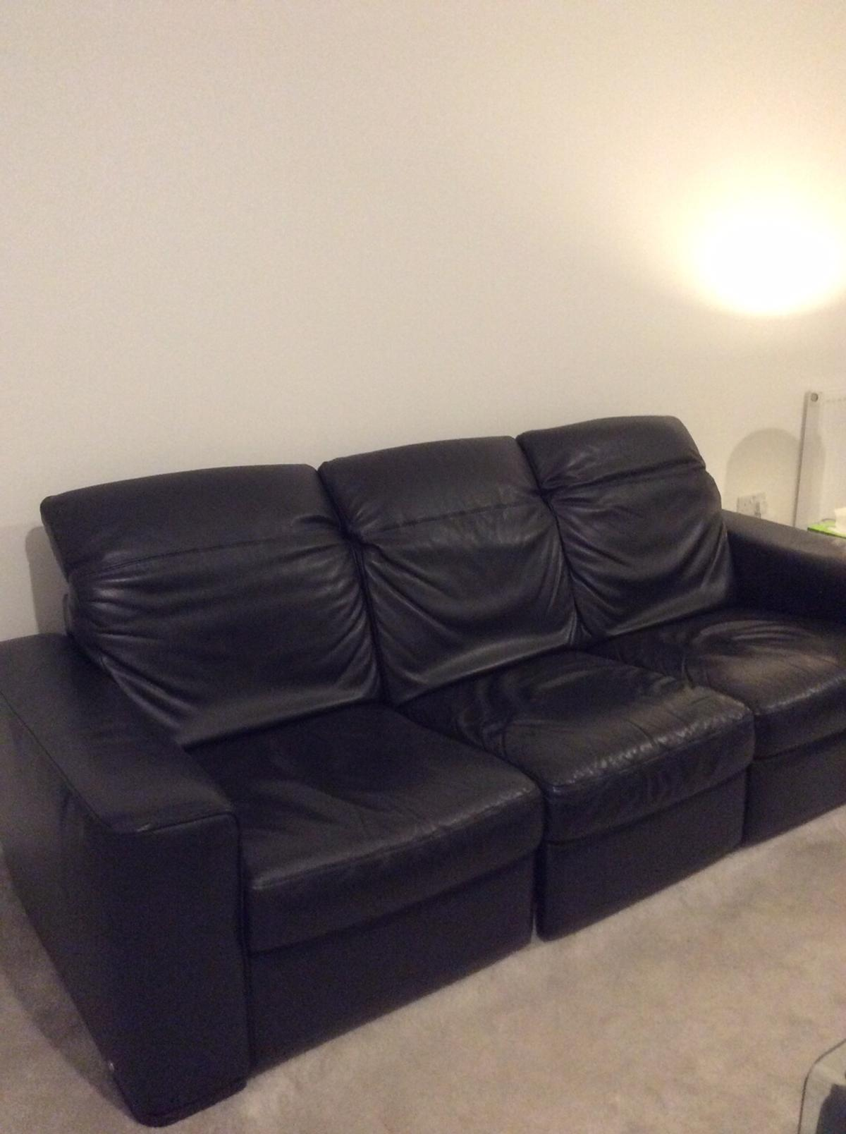 Marvelous Natuzzi Premium Black Leather Sofa And Chair In Preston For Theyellowbook Wood Chair Design Ideas Theyellowbookinfo