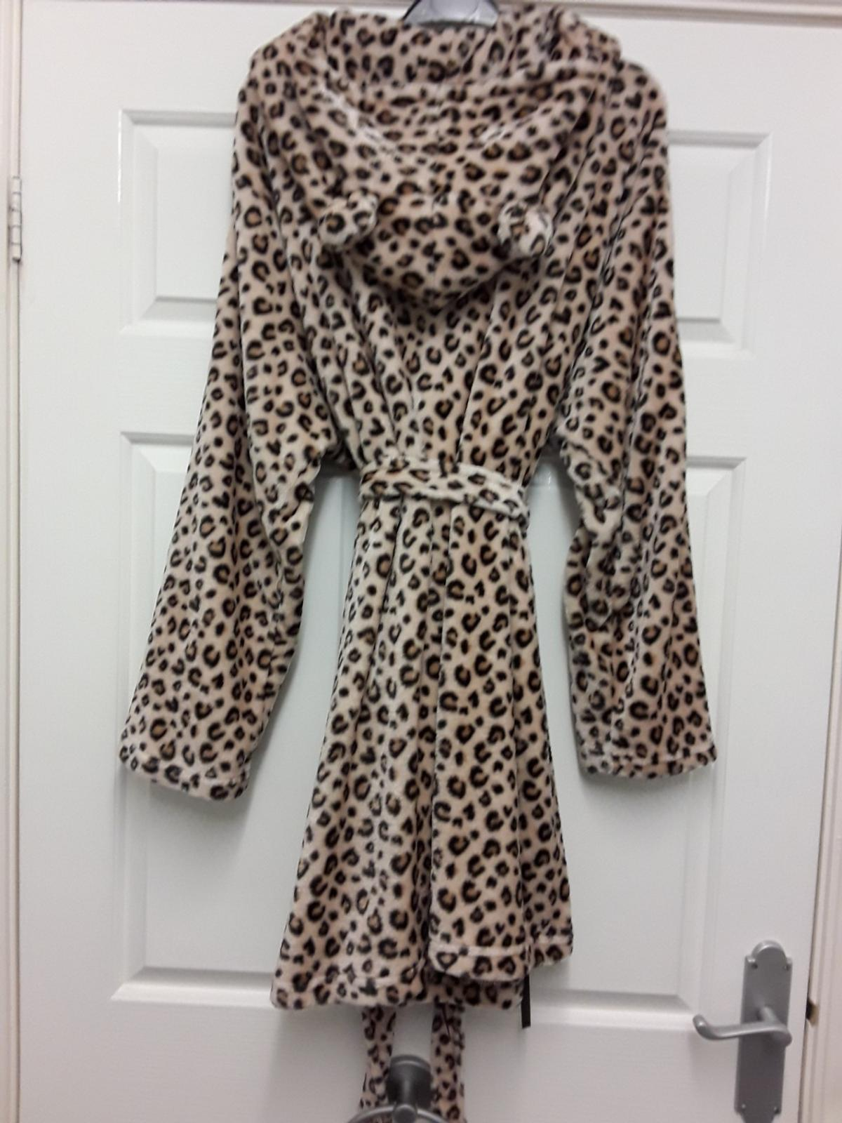 Animal Print Hooded Dressing Gown Size