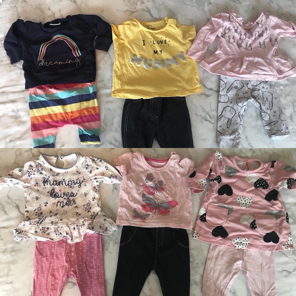 Baby Girls Clothes NEXT Dungaree Shorts Top Tights Outfit Upto 1 Month Newborn