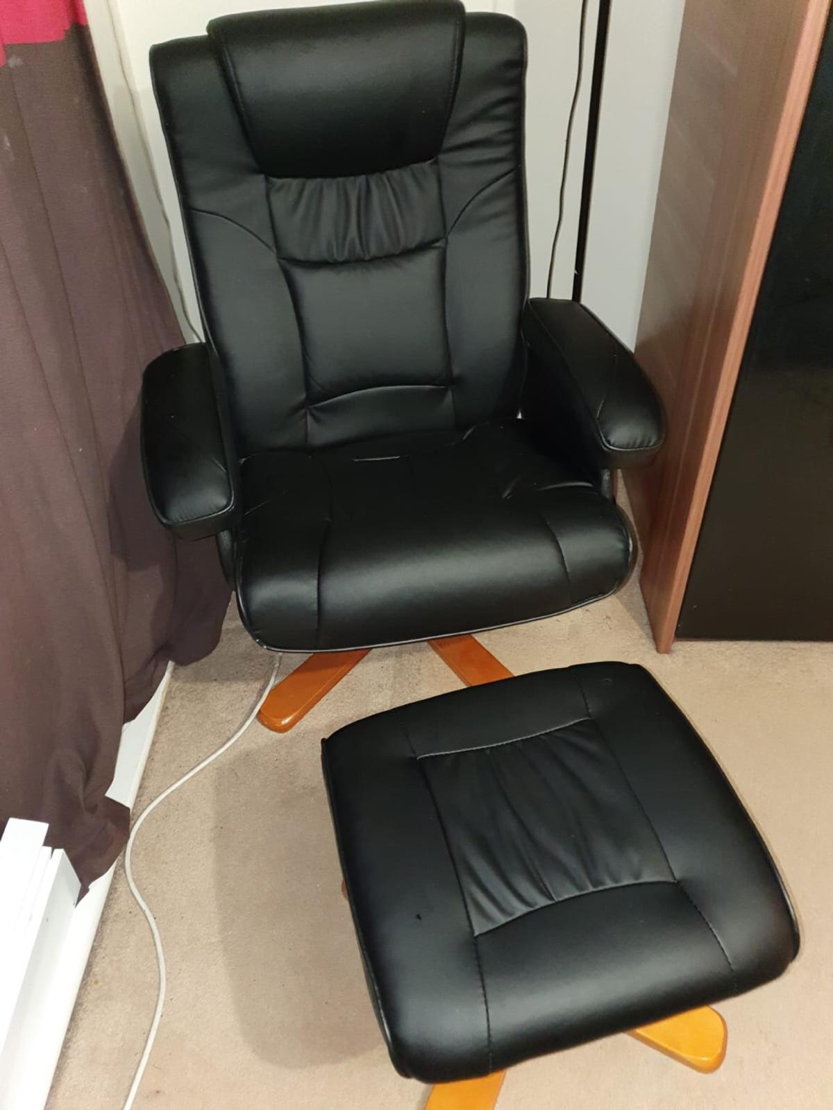 Picture of: Black Faux Leather Swivel Chair Footstool In Se12 London For 50 00 For Sale Shpock