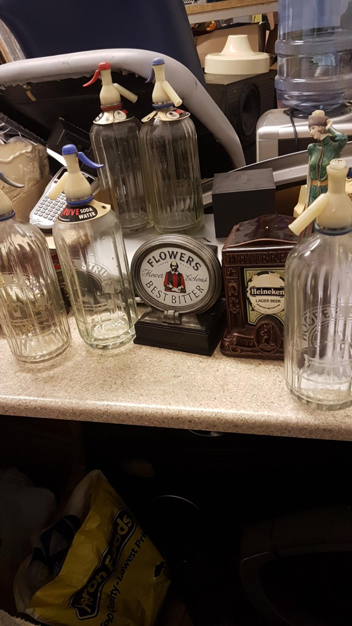 5 vintage soda water bottles 2 bar sighns ideal for display or man cave items open to offers on seperate or man cave items
