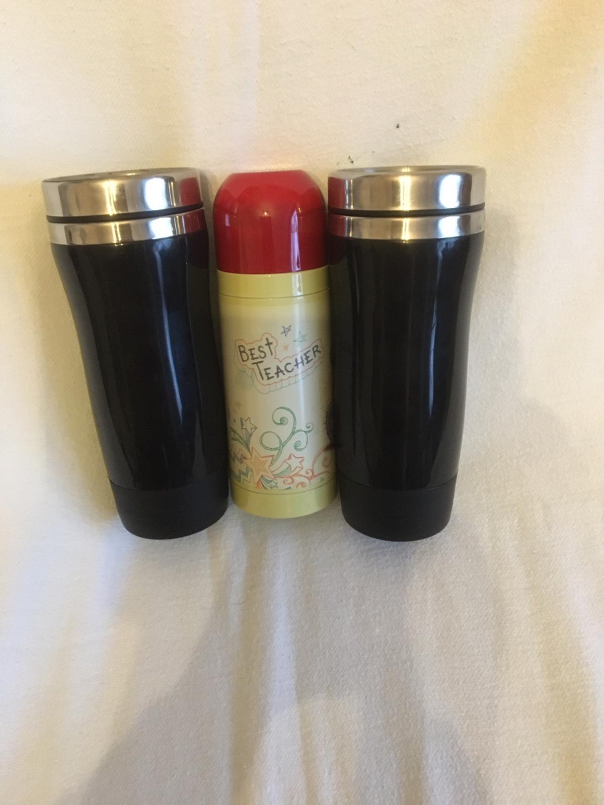 2 Insulated Travel Mugs. 500 mls each and I Small flask, ( 300 mls ). Flask has Best Teacher written on it. Flask is new. Travel Mugs used only once. £6.00 for all 3. Can be sold separately.