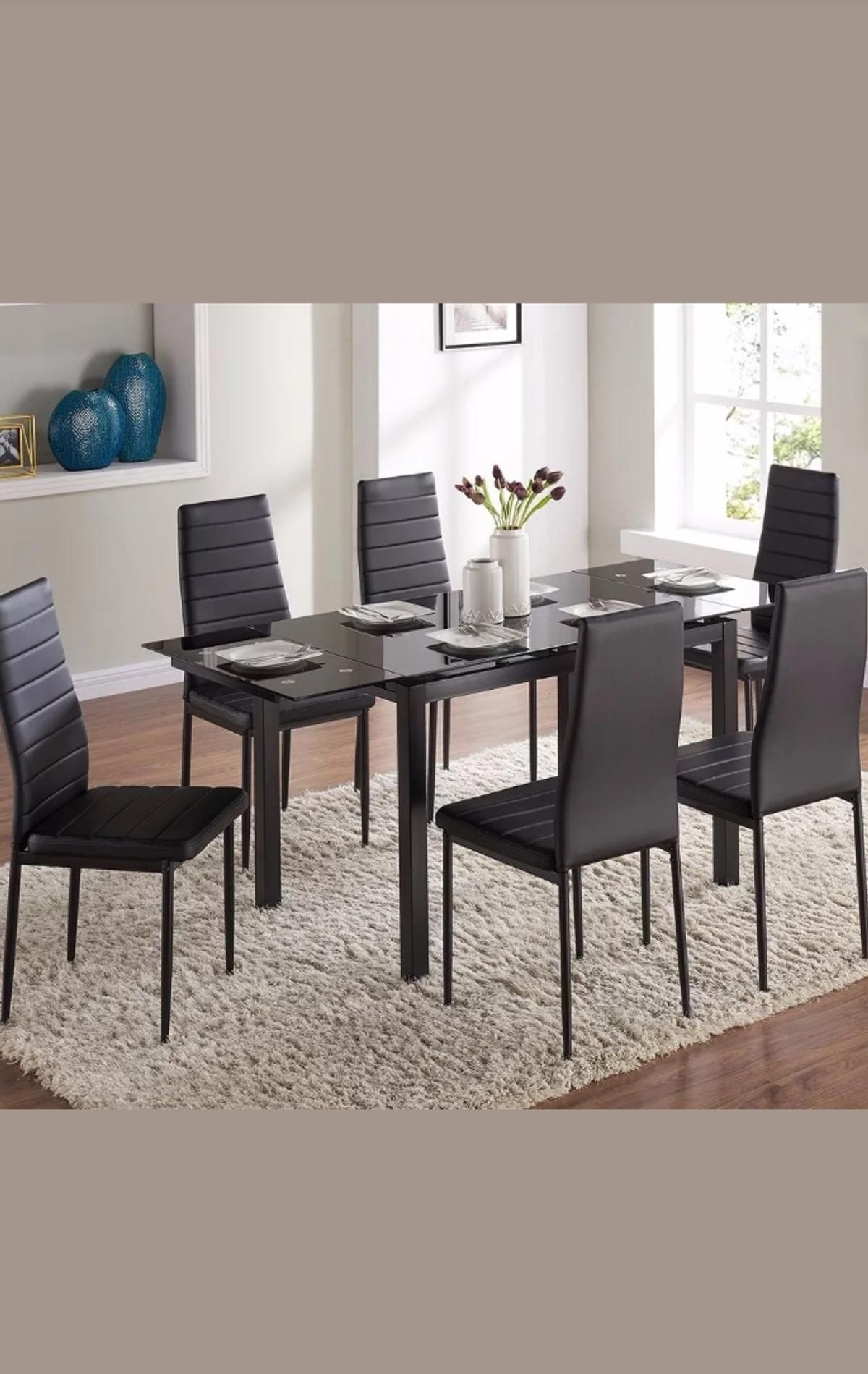 Black Dining Table With 6 Black Dining Chairs