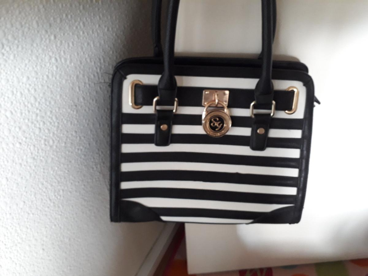 black and white stripped handbag excellent condition collection only