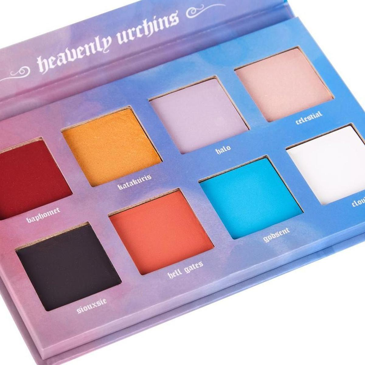 Brand new  Celestial hosts and creatures of the other-world proclaim joy. The Heavenly Urchins palette of divine and devilish shadows is now available in eight colours. Three glorious shimmers and five marvellous mattes. Let your creativity flourish with shades designed to let you be you. Our vegan and cruelty-free makeup is packaged in a sturdy box featuring original artwork by Wella Lee. At Cult Candy, we want you to be able to express yourselves in