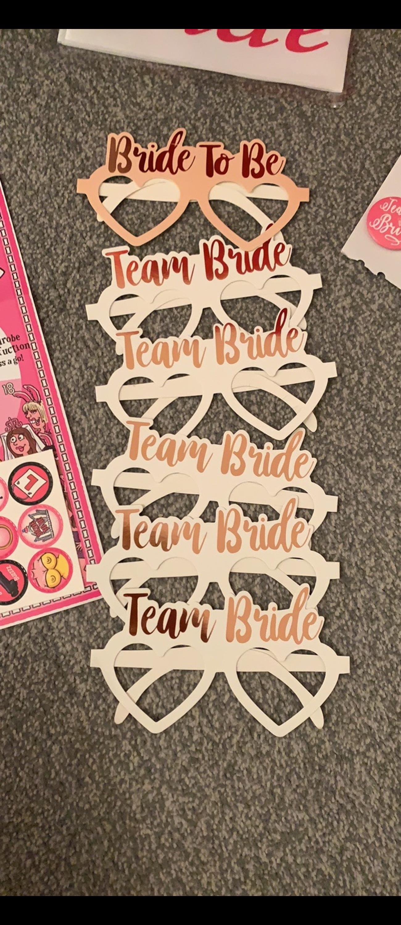 Hen do accessories included: - Photobooth props - Quiz - Dare cards - Willies and ladders games - Bride to be and 5 team bride glasses - 3 Team bride badges - Bride to be sash - Bunting