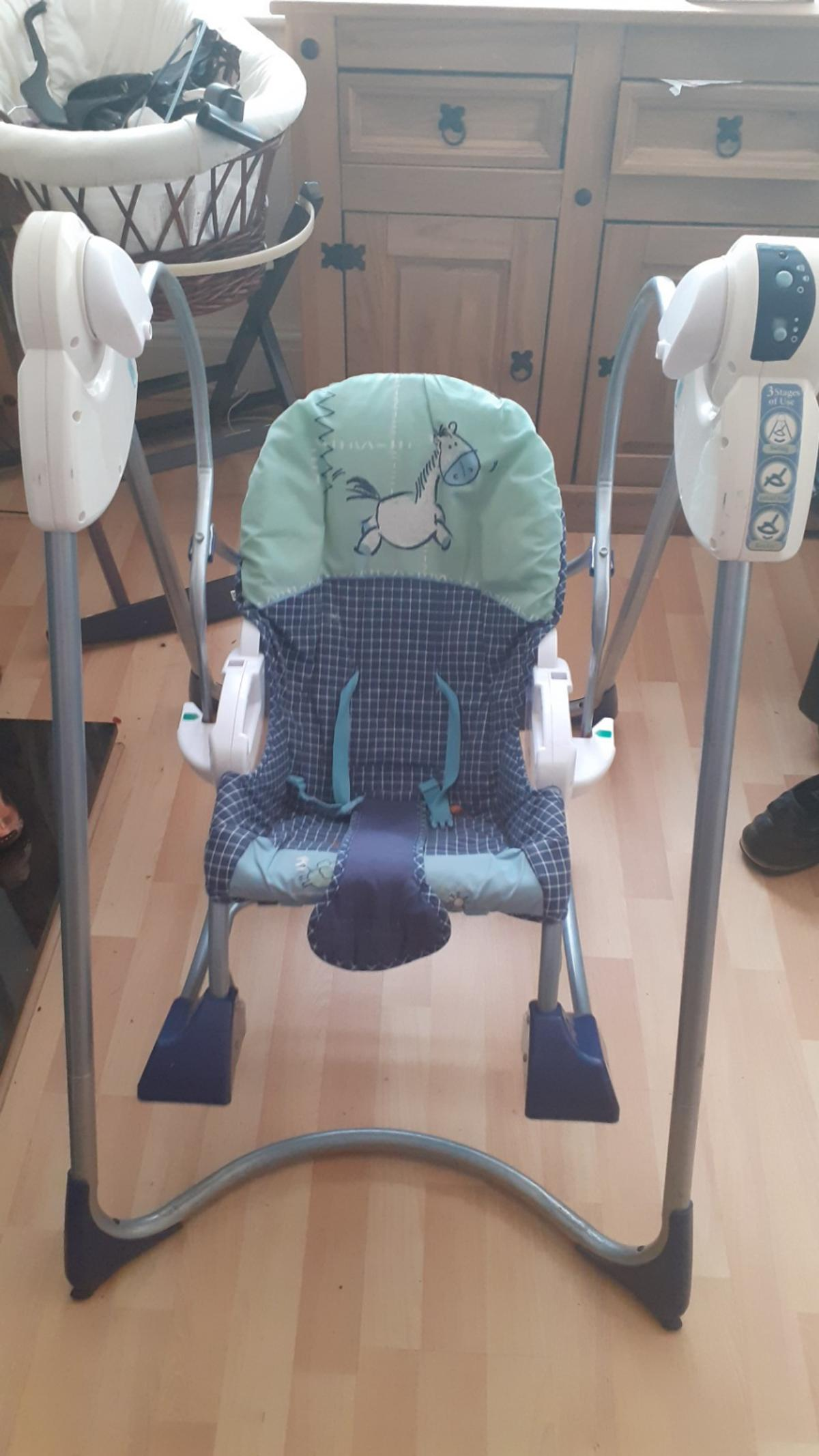 smart stages 3 in 1 rocker swing battery operated with music also comes off to be a sit up lie down chair