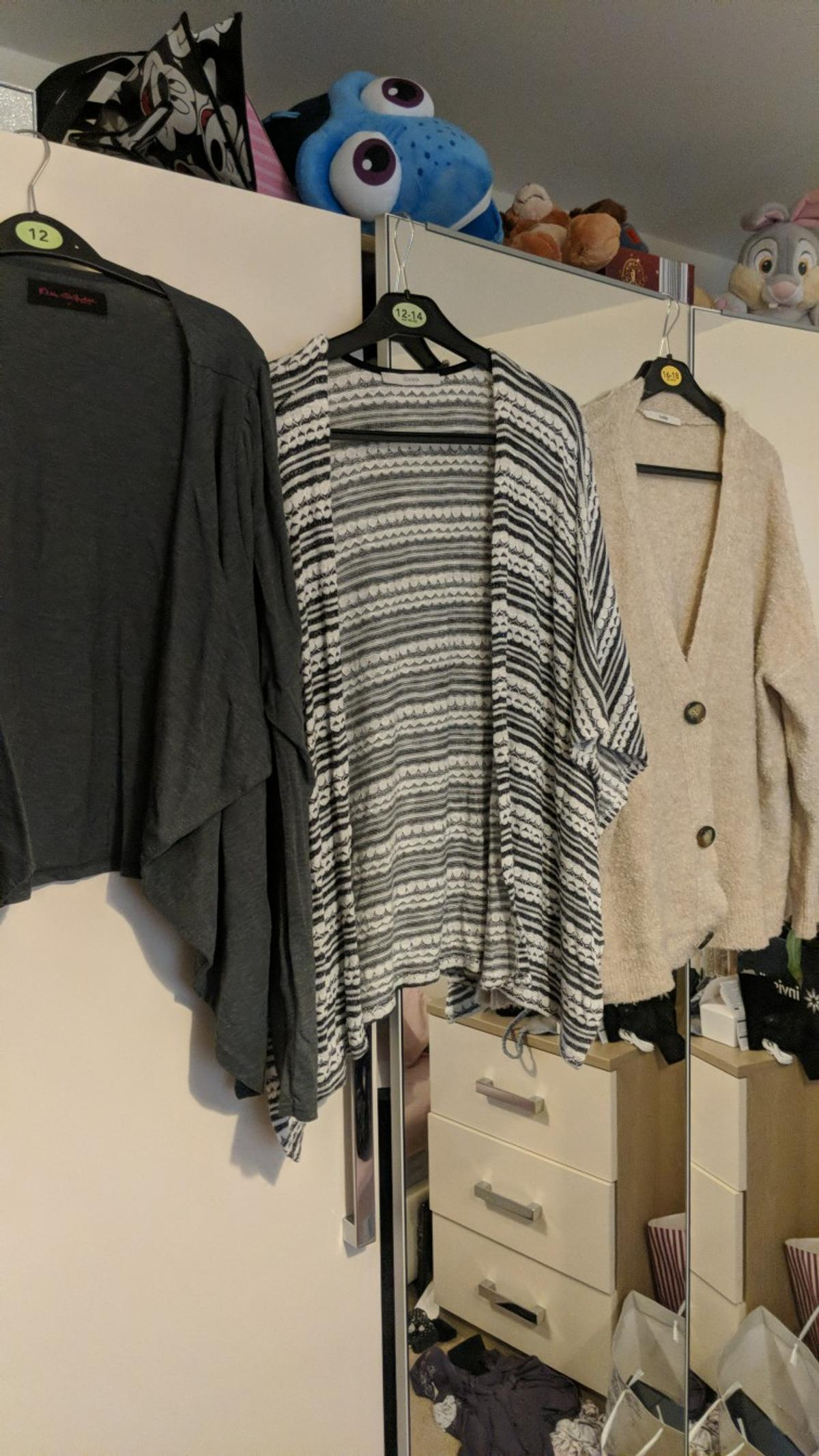 short grey cardigan - Size 16 - Miss Selfridge long black and white cardigan - Size 12 - Gorge Cream cardigan - Size 12-14 - George Buyer to collect from LS26