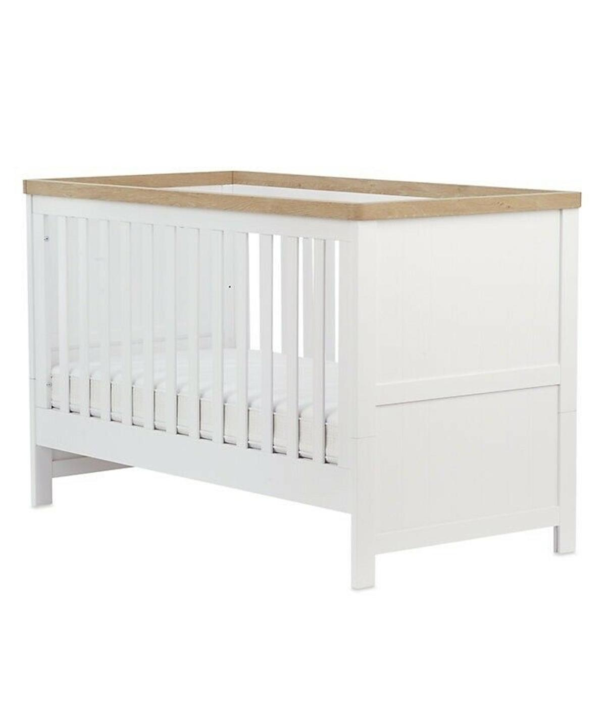 Cot/Cot bed in excellent condition. Very well looked after. Use from birth with 3 base height positions. Purchased for £295. Dismantled for storage purposes but same as the one in the pictures.  Detailed information below:  Features and benefits for mothercare lulworth cot bed - classic white suitable from birth to approx. 4 years converts from cot to toddler bed three base height positions rounded corners coordinating changing unit and wardrobe available separately dimensions: 75 x 14