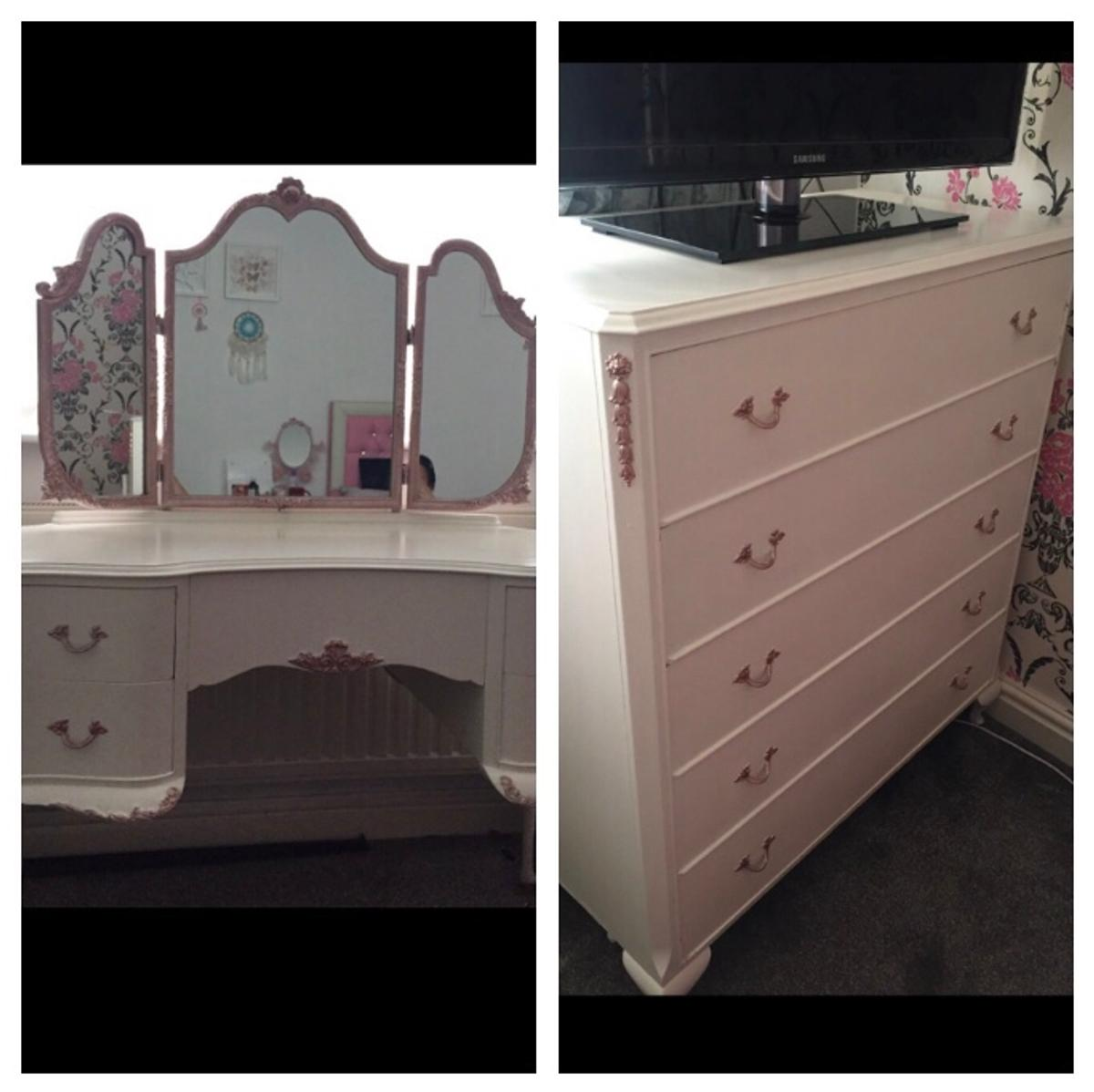 Vintage White Dressing Table And Drawers