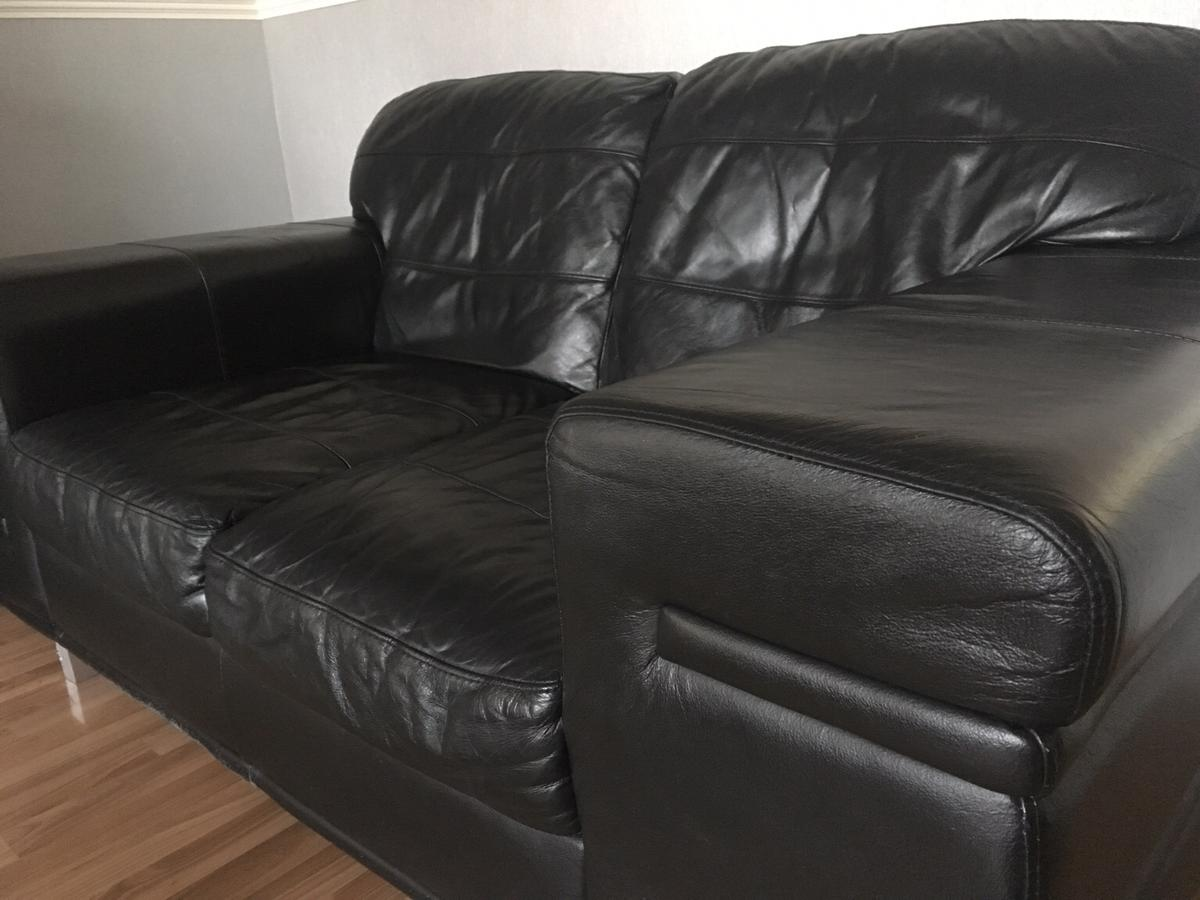 3 2 Seater Black Leather Sofas Dfs In B8 Birmingham For
