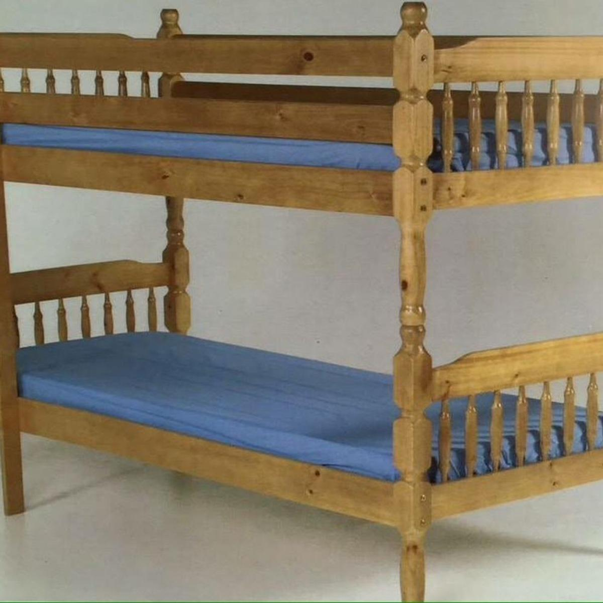 Solid pine bunk be .we have 2 colour in stock.... Frame only £199 With mattress £299 Free delivery in Bradford 07883919335