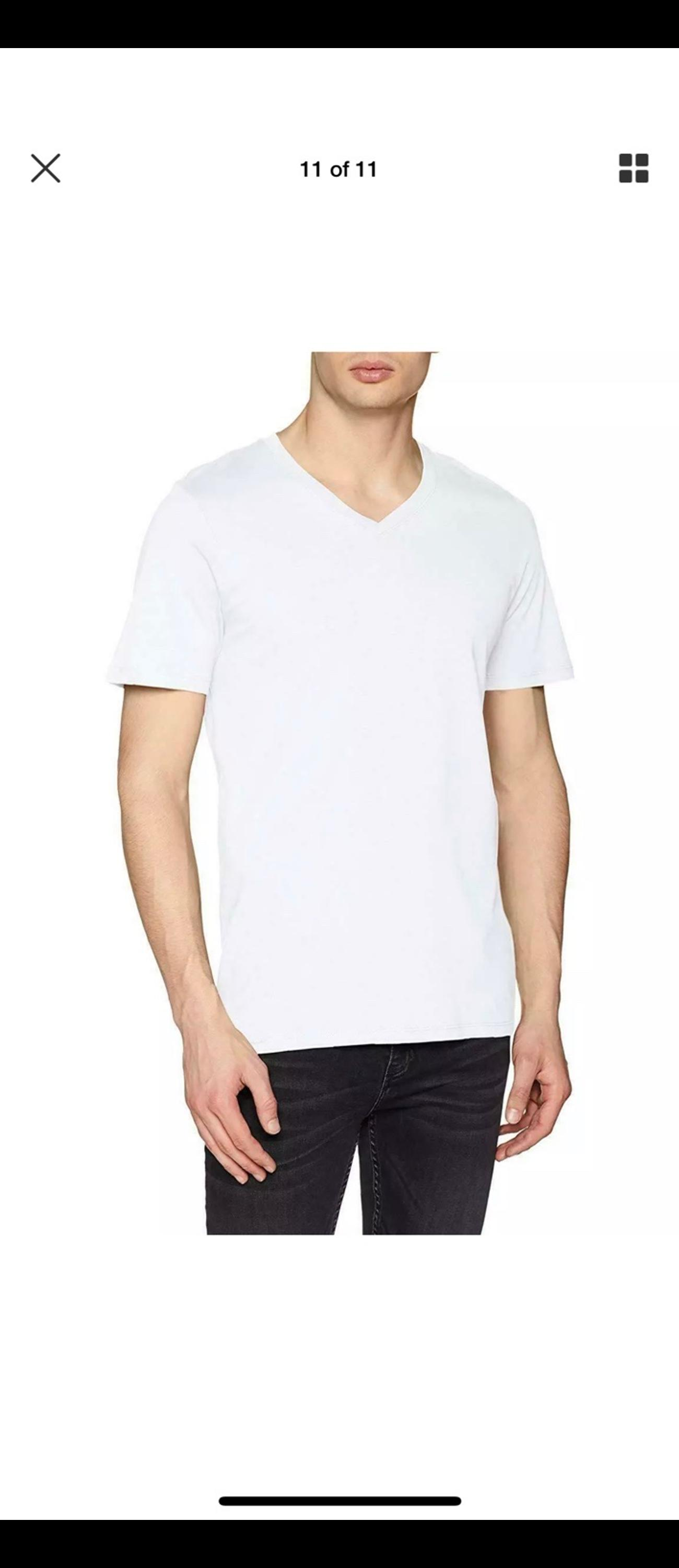 ONLY COTTON WHITE SHORT SLEEVE T SHIRT V NECK SIZE L POCKET RRP £12 SALE £4.99