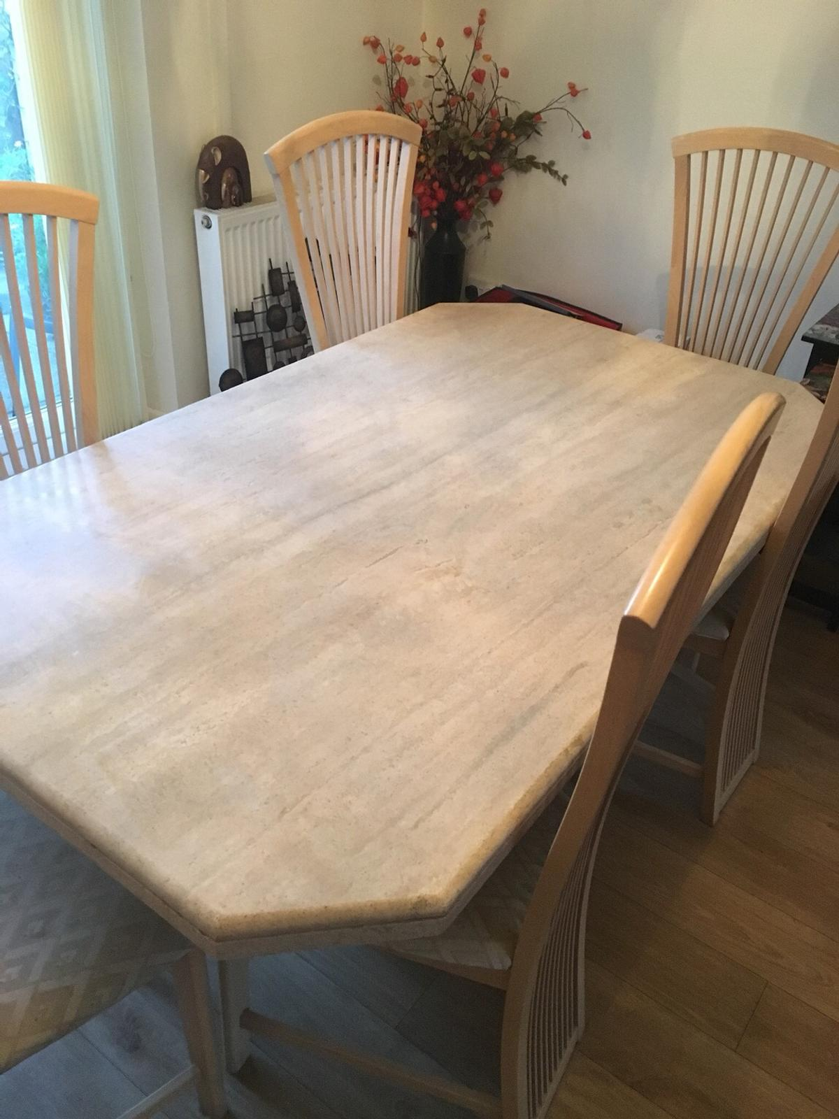 Large Marble Dining Table And Six Chairs In St Helens Fur 265 00 Zum Verkauf Shpock At
