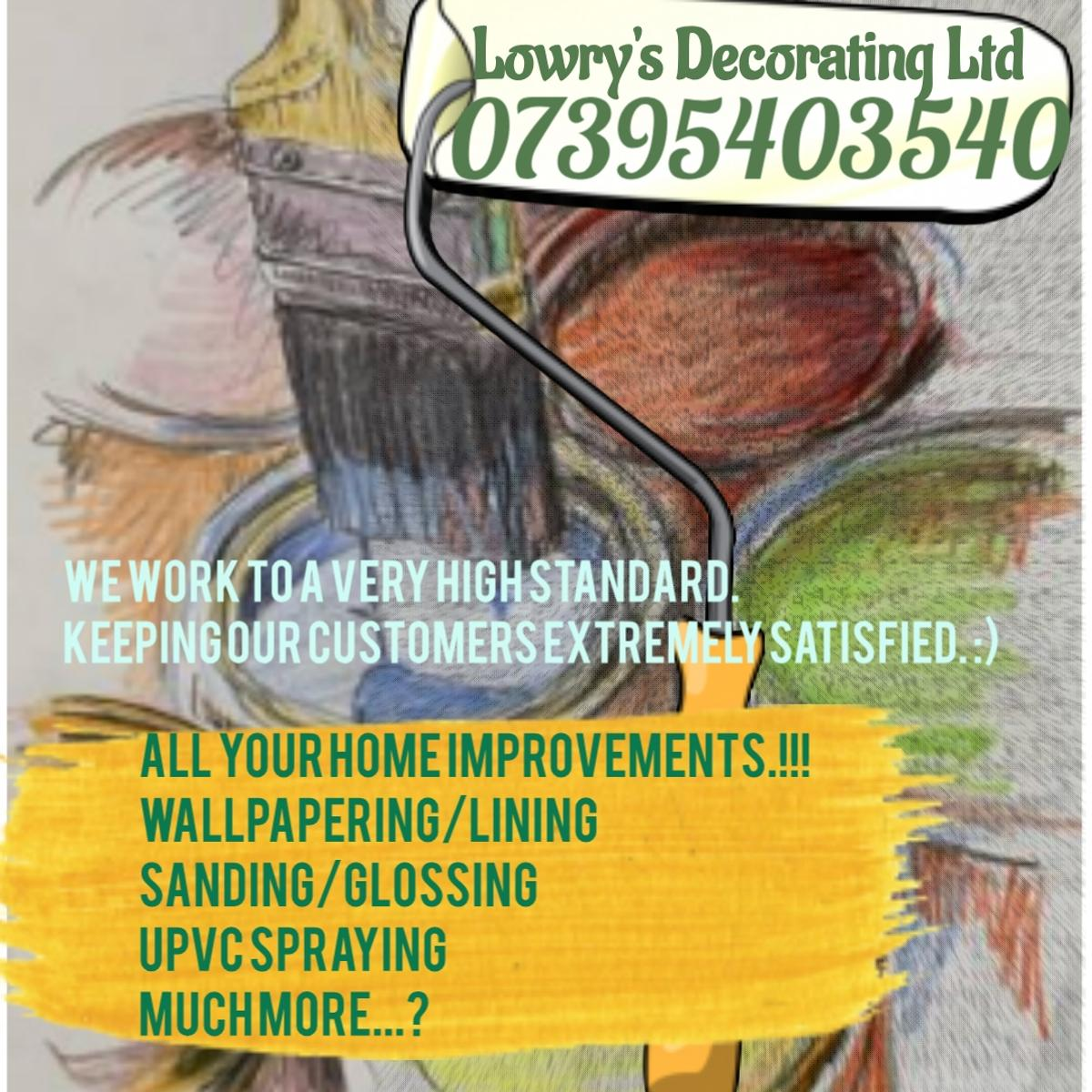 Give your home an artist's touch.! Contact for your free quote.! 07395403540 Brightening your home. All work undertaken Wallpapering Lining Filling/Sanding Skirting boards Covings UPVC spraying. Much More.! All work carried out will be completed to a very high standard.!