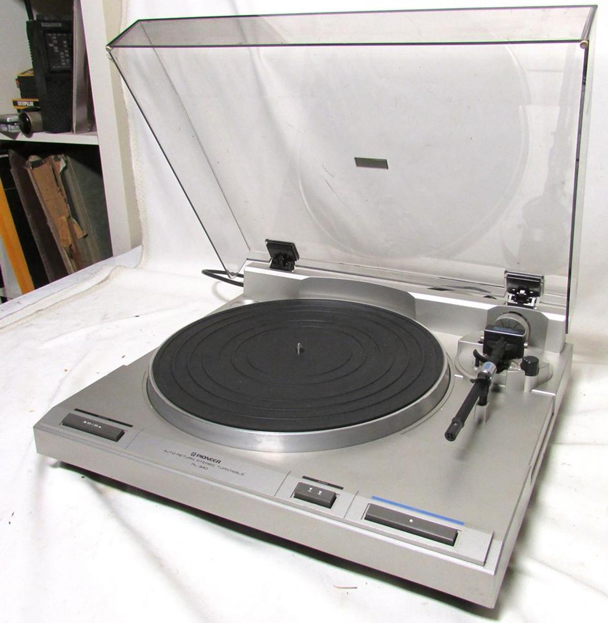 pioneer record player pl-340  full working order  needs needle cartridge  circa 1985  retro collectable record player