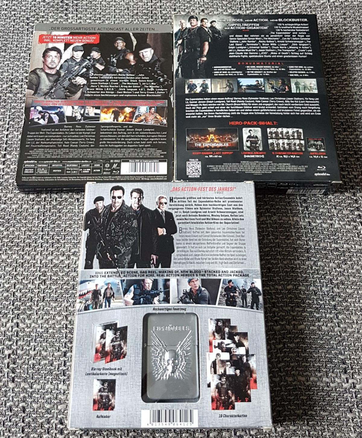 The Expendables Teil 1 - 3 Steelbook auf Bluray.  • The Expendables Choose your Weapon Extended Director's Cut Steelbook CD neuwertig • The Expendables 2 Back for War Limited Uncut Hero Pack Steelbook, vollständig CD neuwertig bis sehr gut • The Expendables 3 A Man's Job Extended Director's Cut Hero Pack Steelbook, vollständig CD neuwertig  Die Blu-Ray's wurden nur 1x gesehen.  Versand und Abholung ist möglich.  blu-ray , blu - ray