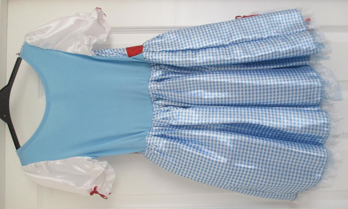 Dorothy costume. Size 9-10 years. Excellent condition. Complete with Toto in a basket and shoe covers.