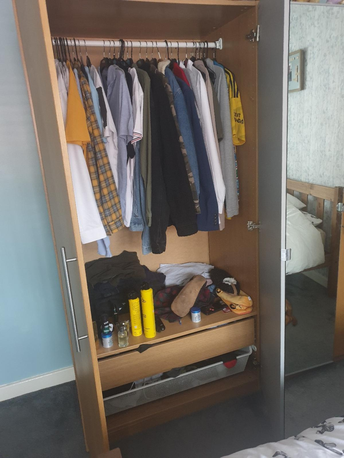 ikea double, 4 door wardrobes, slight wear and tear over time but still in good condition one mirror door off the hinge, easy fix 2 mirror doors 2 normal doors 2 draws in each shelf in each not seen in picture as we didnt have them in but still have them. will be dismantled £70