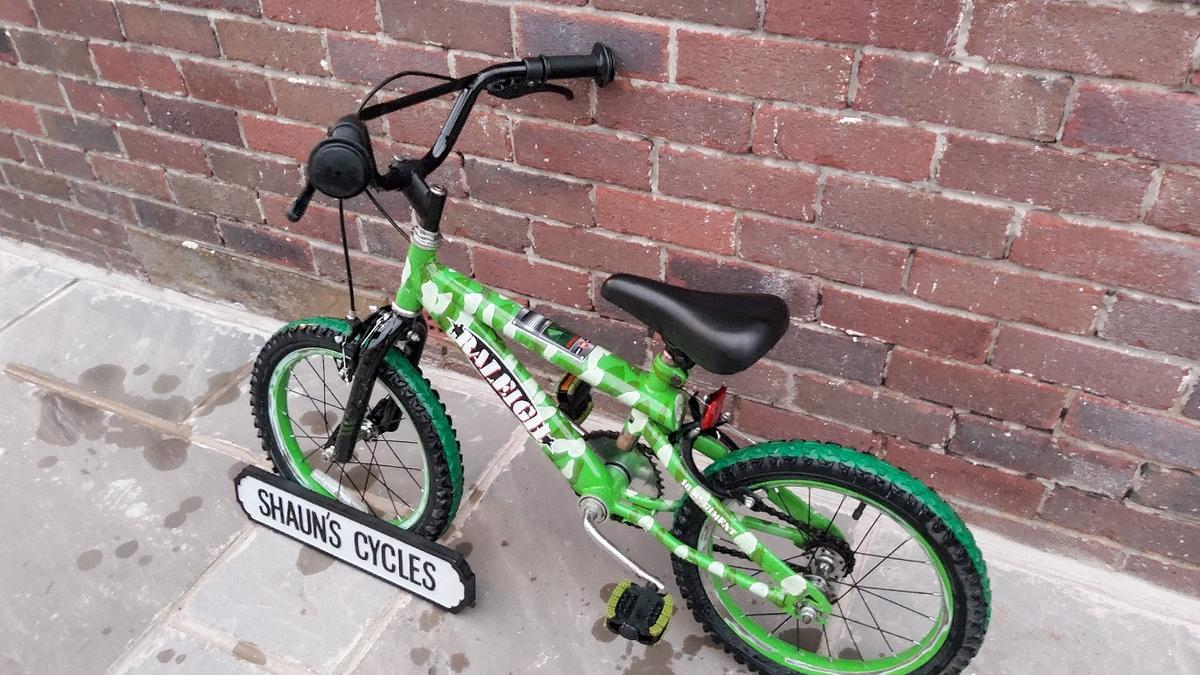 Boys Raleigh Bike in used condition and in full working order 16 inch wheels 10 inch frame for ages 5-8 £20 ono Almondbury Huddersfield Local Delivery Available