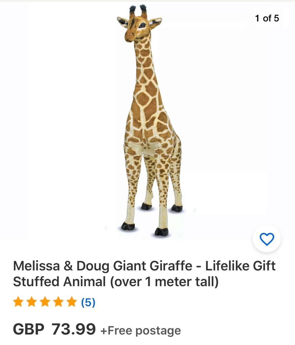Brand new over £70 on eBay.  Melissa & Doug Giant Giraffe - 12106  Product Description  Plush giraffe stands over 121 centimetres tall Features graceful, sturdy, wire-framed legs and a long neck that make it ideal for hugs or posing during playtime. Suitable for ages 3+  This majestic, giant giraffe transforms a child's nursery or bedroom into an African savanna. It is sure to bring a smile to everyone's face with its plush coat, patterned closely after the real thing. It features graceful, stur