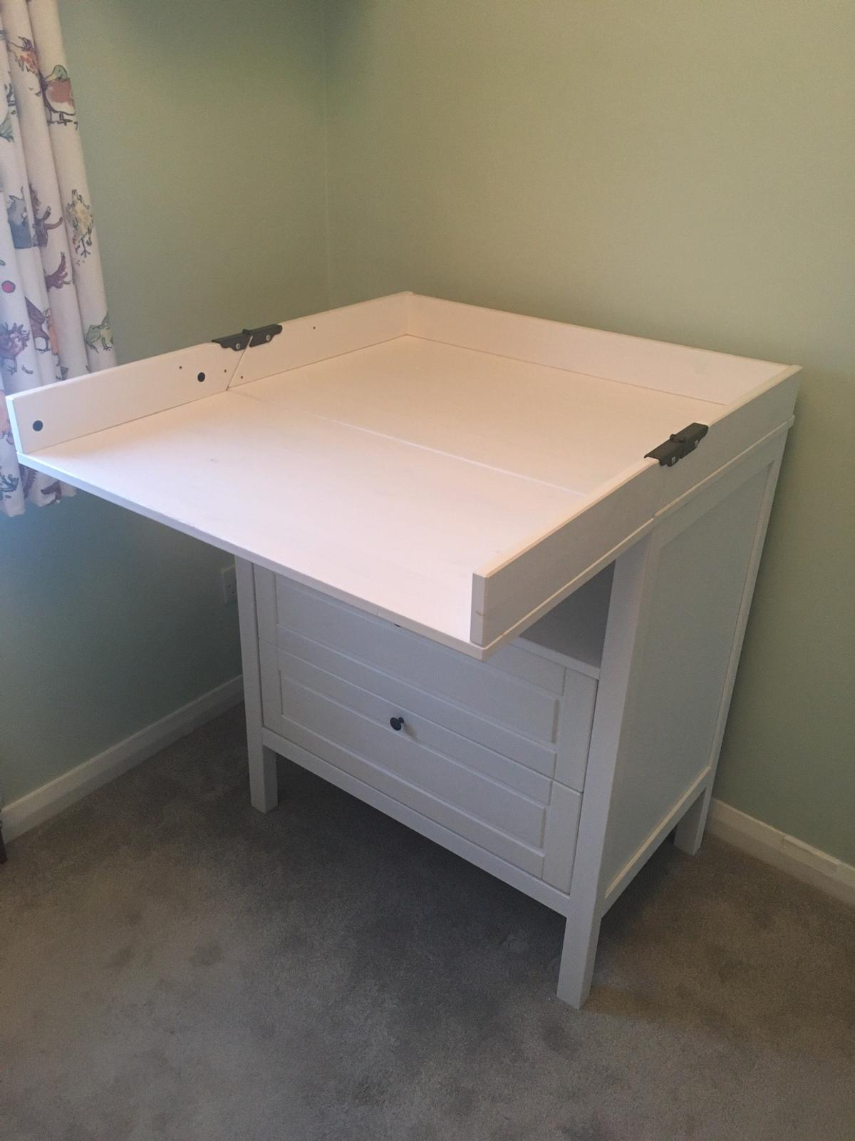 Ikea Sundvik baby change table. Good condition. There are a couple of areas of paint wear from useage (see photos). There are a few areas of discoloration but this is as was when bought new (quality IKEA paint job!) No damage. Drawers operate smoothly. Not subject to any nastiness. Has been well looked after and is from smoke and pet free home. Has been anti bac cleaned. 78cm wide, 50cm deep, 108cm tall (when top folded up). £140 RRP  Collection only please.