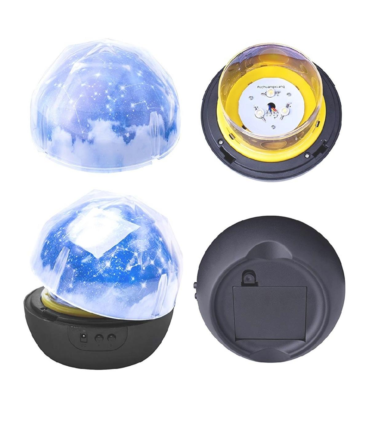 GLOBRITE PLANETARY PROJECTOR SOLAR LIGHA great night light. Can be used a lamp or a projector. The light can be changed to yellow, white and blue. 3 brightness levels. 3 vivid projector theme films. Project stars, the universe or a happy birthday message on to the walls and ceiling. Can be powered via USB or 3x AA batteries (not included) Chose between 3 lamp deigns: Moon  brand new boxed