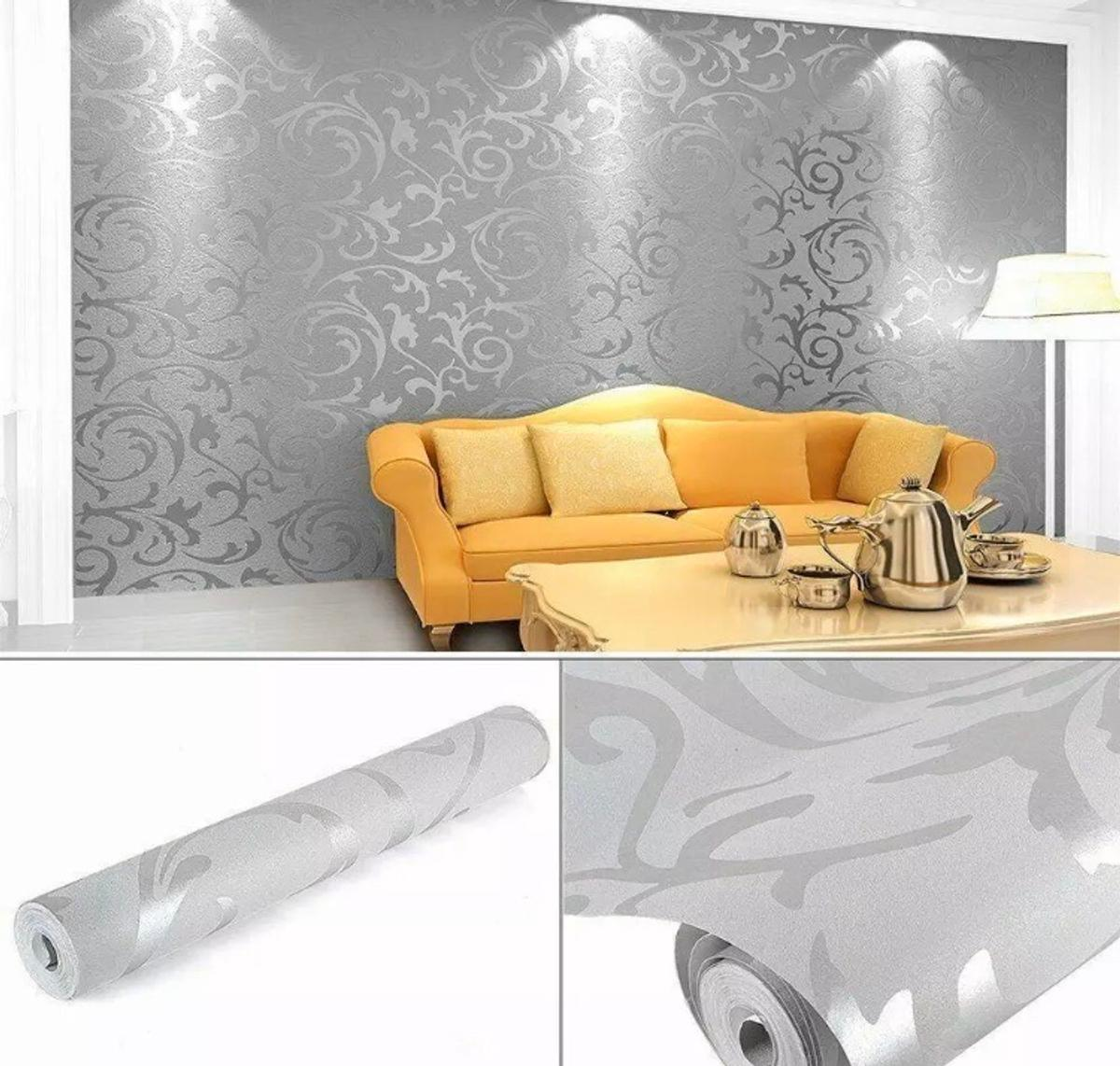 3D Victorian Damask Luxury Embossed Wallpaper Roll - Silver & Grey Design  Extra-thick vinyl material Coverage:53cm x 10m (5.3m2)  Please get in touch for more information if interested. Only 4 rolls available, £6 per roll