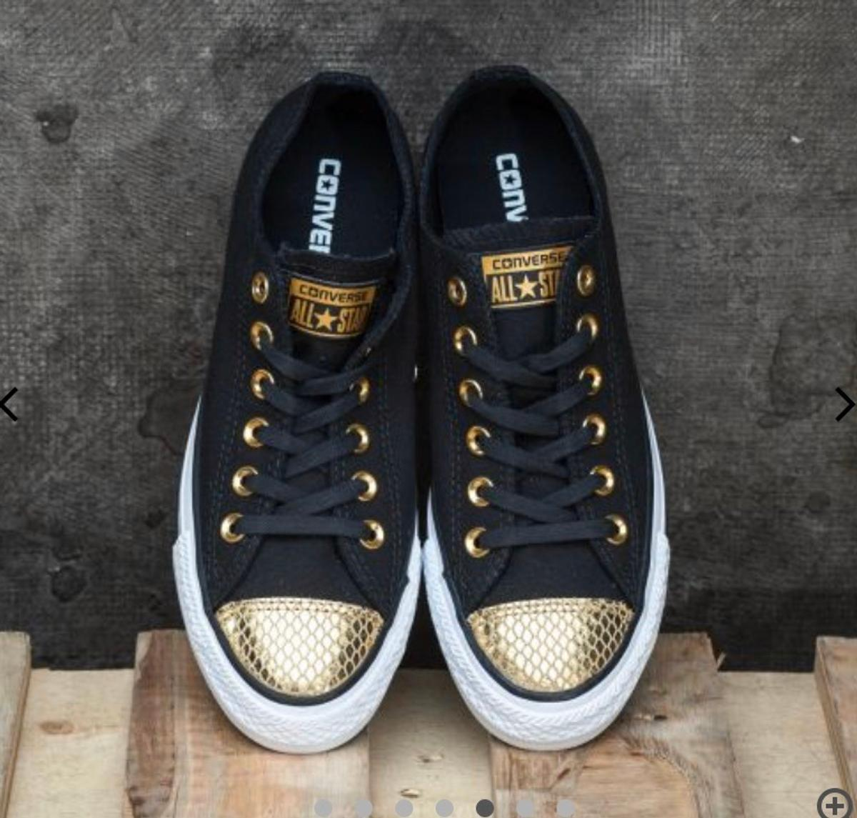 NEW CONDITION SIZE 3 BLACK AND GOLD CONVERSE
