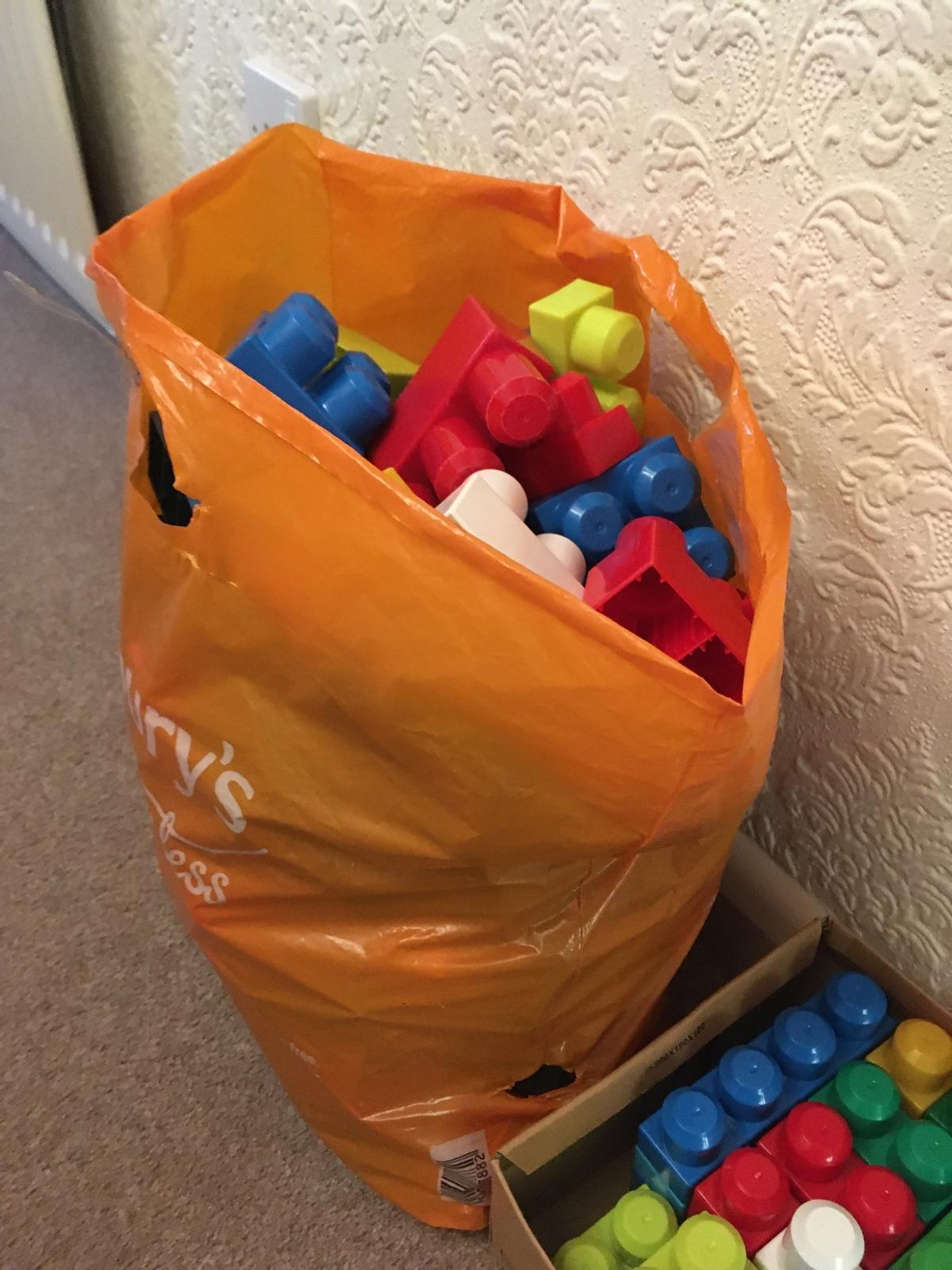 Large bag and two boxes of assorted mega blocks for sale. Please see my other items, will be listing more toys.