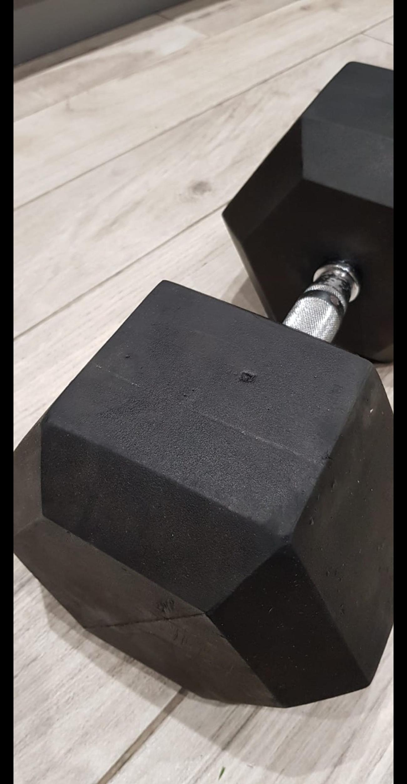 2 weights in good condition. Hex dumbells 50kg each. Some marks and scuffs and a small amount of surface rust on one grip. These cost over £200 new. Collection only from Welwyn Garden City.