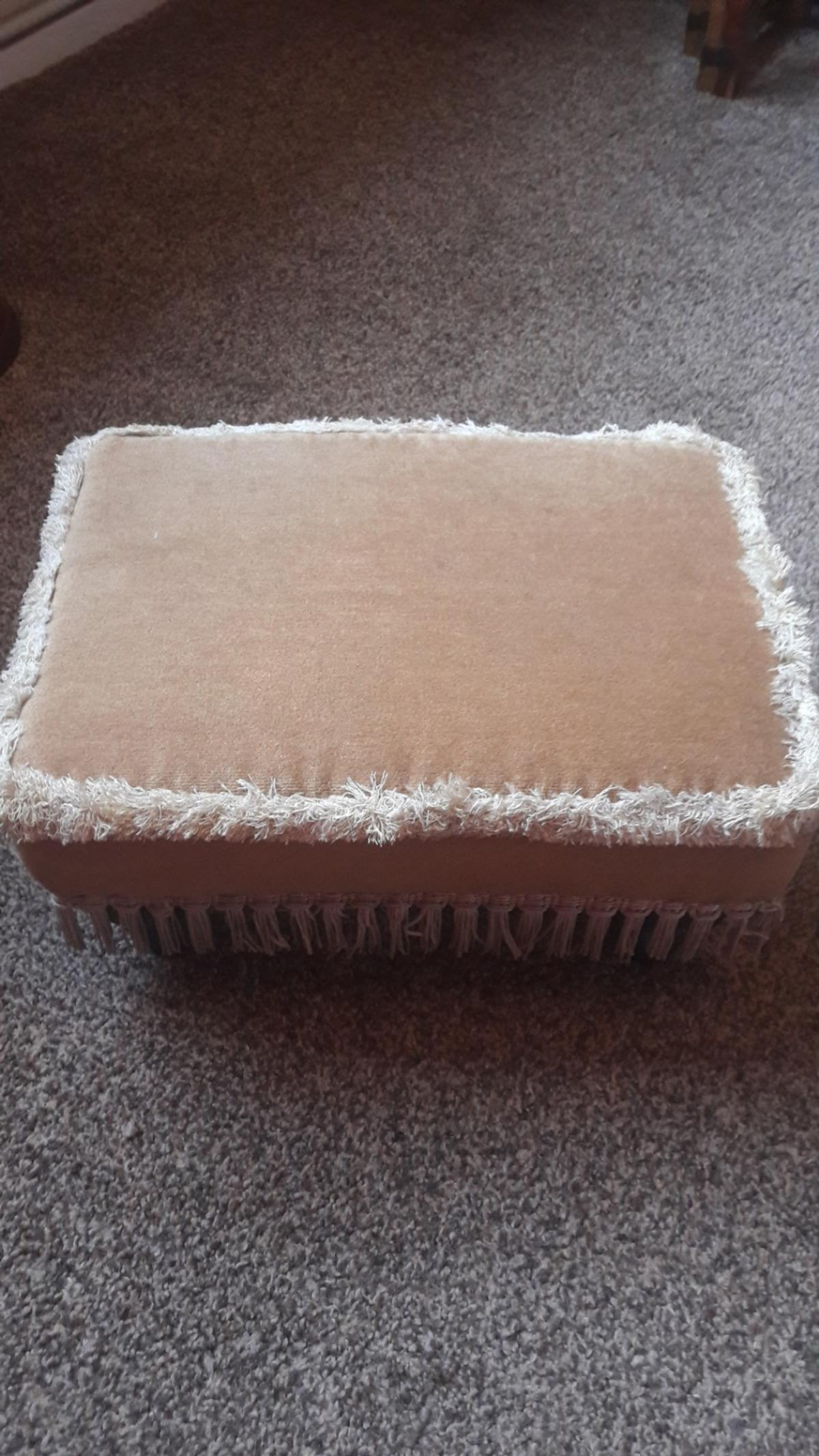 Draylon and fringed foot stool with legs. Mustard colour. Has a few small marks which I'm sure could be removed. Overall good condition. Collection from Brierley Hill No holding £3