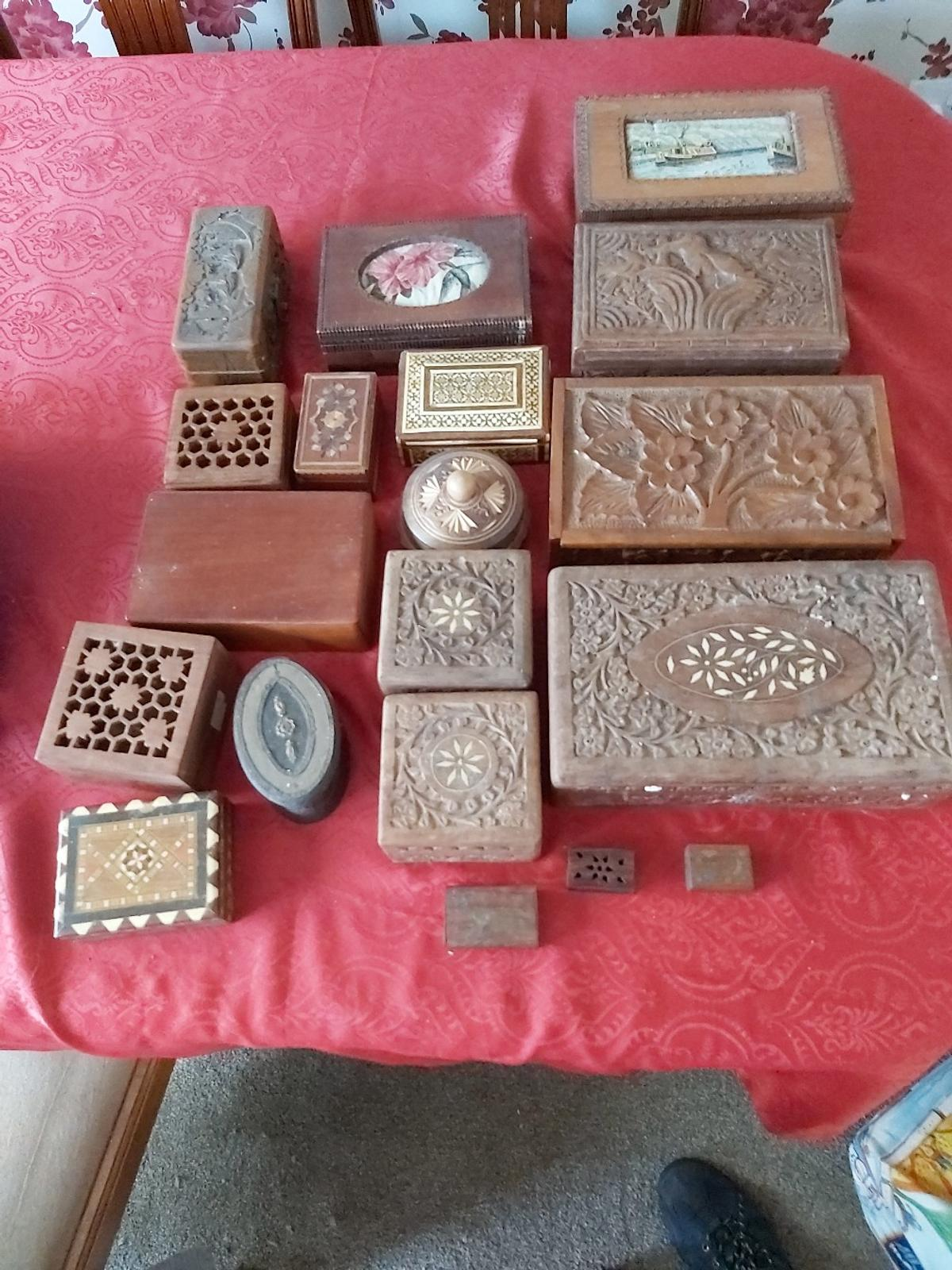 Selection of old carved wood or inlaid boxes