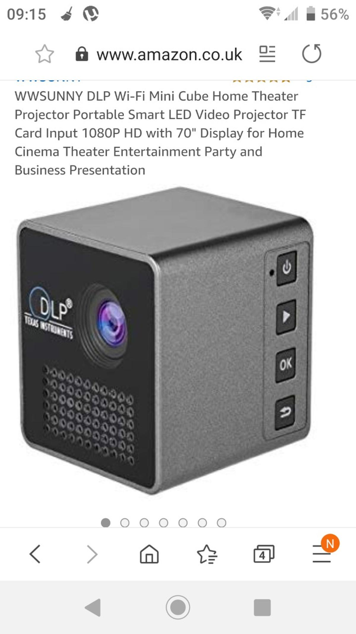 Mini projector. Its good for about a 2m sceen. Around 6ft good for movies game consoles and phones. It connects ro everything's.