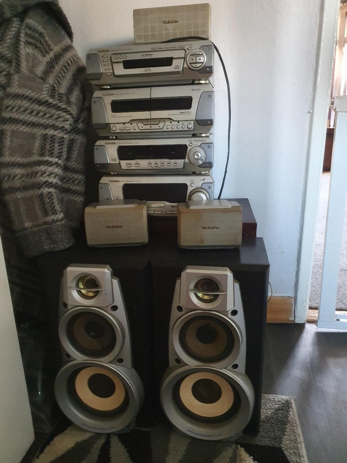 technics hifi system. surround sound, tape, radio, 5 disc CD player. works as it should. speakers work but top tweeters are tatty.