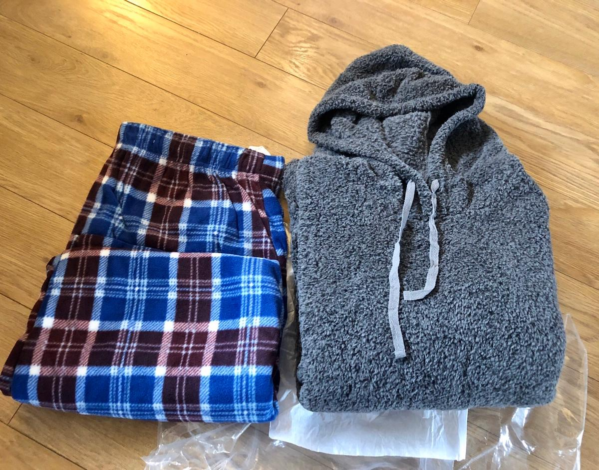 Only taken out of packaging for picture Brand new size XL Men's Fleece/Hoody PJs Bought from Studio Pet and smoke free home Collection Ditton, Widnes