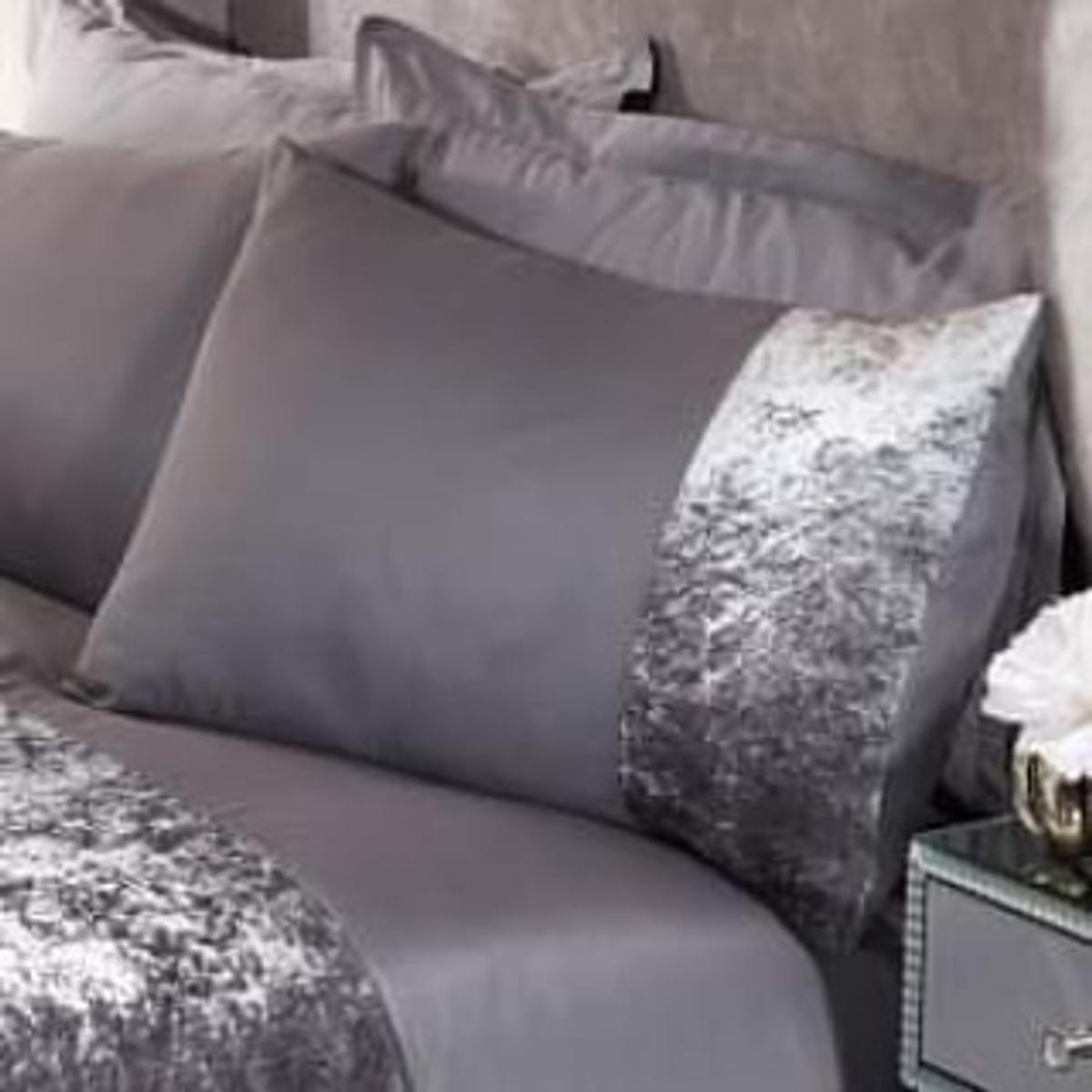 Sienna Crushed Velvet Band 4 Pack Of Pillowcases Colour Silver Grey