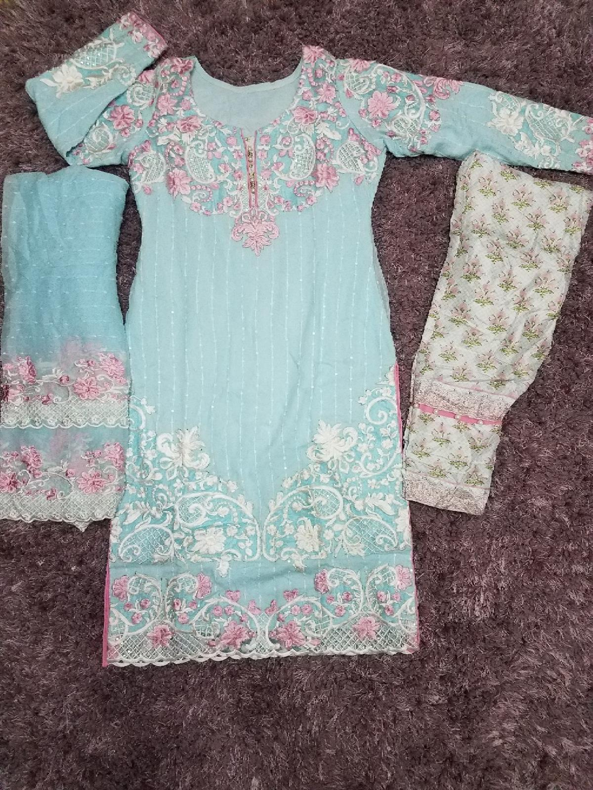 Size medium worn only once chiffon heavy embroidered suit paid £140 for it