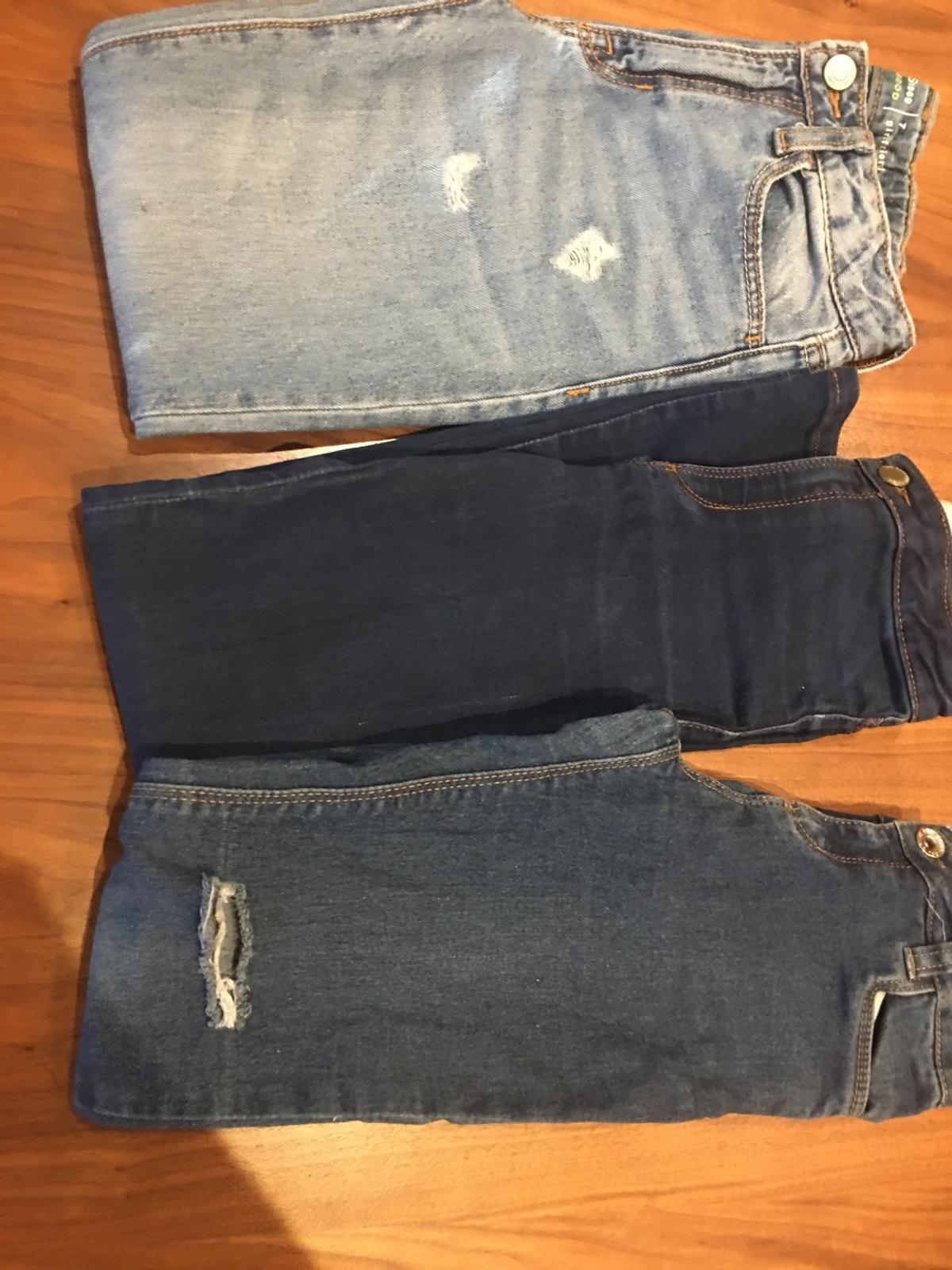 Very good condition 1 girlfriend jean from GAP for 7 year old 1 slim stretch denim jean from Zara for 7 year old 1 skinny jeans from H&M 8 years old