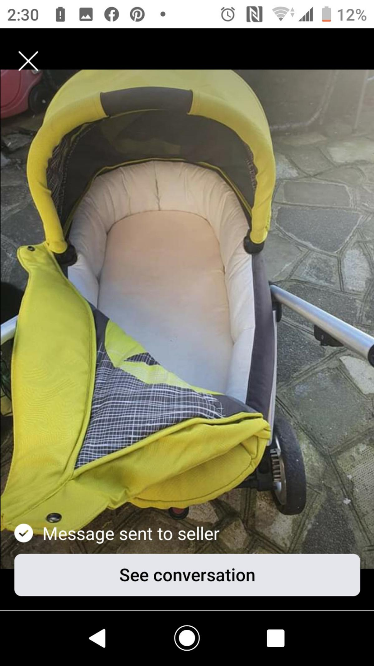 Lime green pram/pushchair. In good condition Comes with carry cot, raincover and pushchair (as seen in the picture) From Mamma and Pappas Collection en1 Enfield £70 or best offer