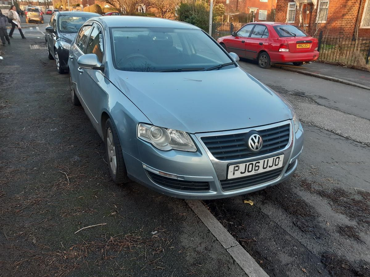 or sell me passat b6 2.0TDI 159099k on clock rear door damage need pull out mot finishing this month 15th still show tax 4x alloy whell cruse control 6speed gearbox new chlutch kit with flywhell and all bearing in gearbox need service show in dash one key full log book on me name rear reversing camera dvd radio with 9inch screen but screen broken full eletric window I use this car wyear and newer let me down no smoke or oil leak need gone asap coz got new car and need gone car its in manchester