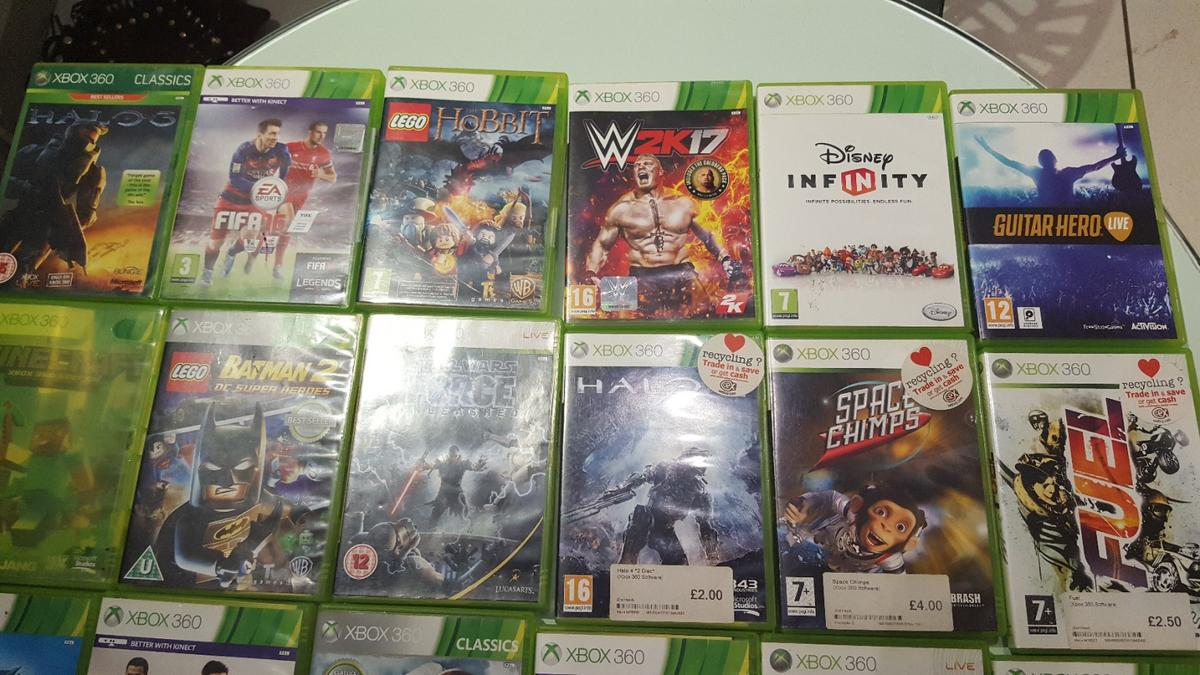 22 used games.  includes :  Halo 3 and 4 skate 3 forza 4 world of tanks fifa 15 and 16 Lego Movie Lego Hobbit  Please see images attaches.  collection only from EN6.  £25 or nearest offer.