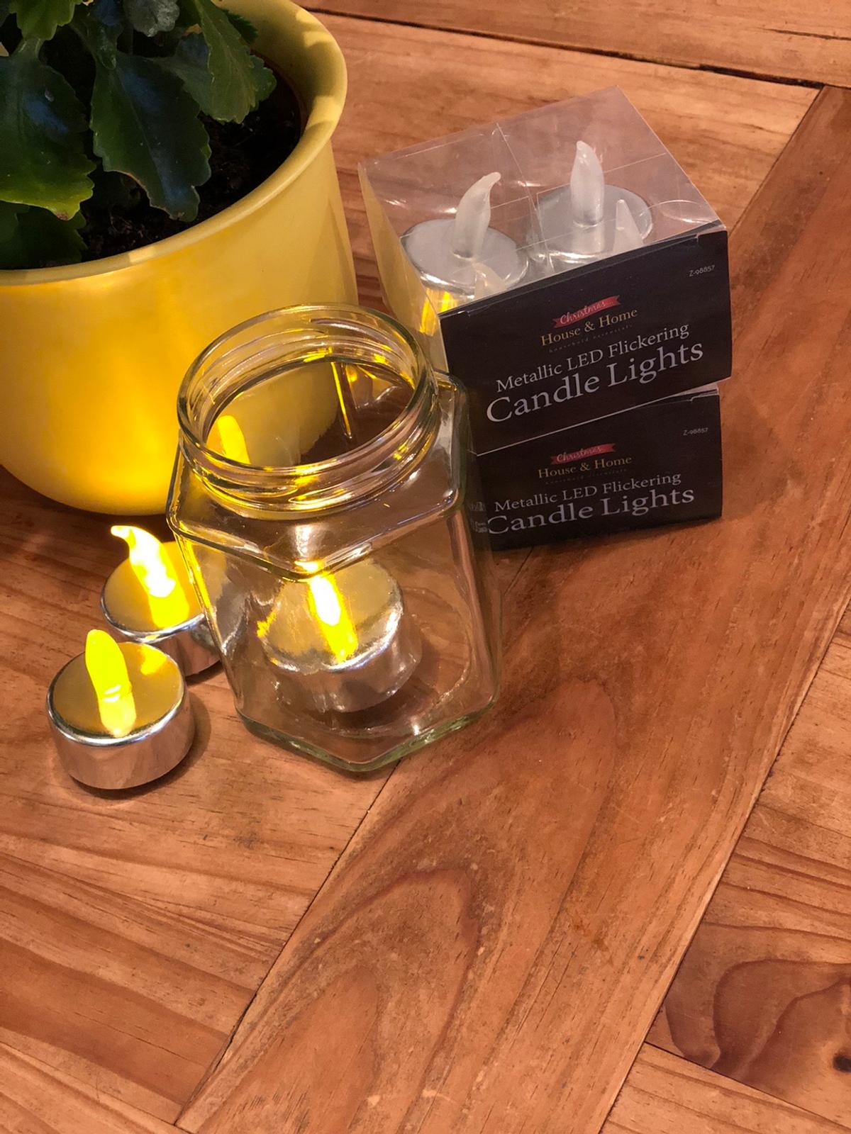 39 LED tea lights - battery's included brought for a garden party but never used. Perfect to put in jam jars for a gathering or to use how you wish. Clean, smoke & pet free home. Collection only - no refunds.